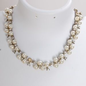 Vintage Inspired Pearl & CZ Crystal Bib Necklace